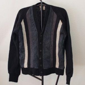 Vintage 1950's Wool/Suede Button Cardigan Medium
